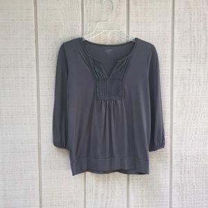 Ann Taylor LOFT stone gray pleasures blouse, MP